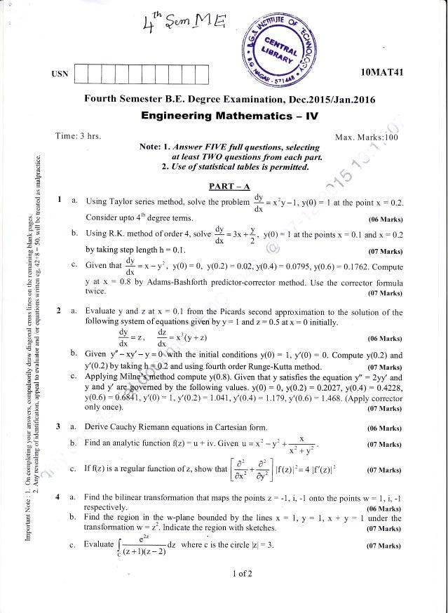 4th semester mechanical engineering dec 2015 jan 2016 question pa f gwtltta fourth semester be degree examination dec2015 i jan20l6 engineering malvernweather Gallery