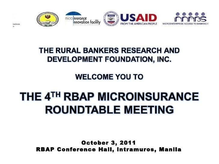 October 3, 2011 RBAP Conference Hall, Intramuros, Manila