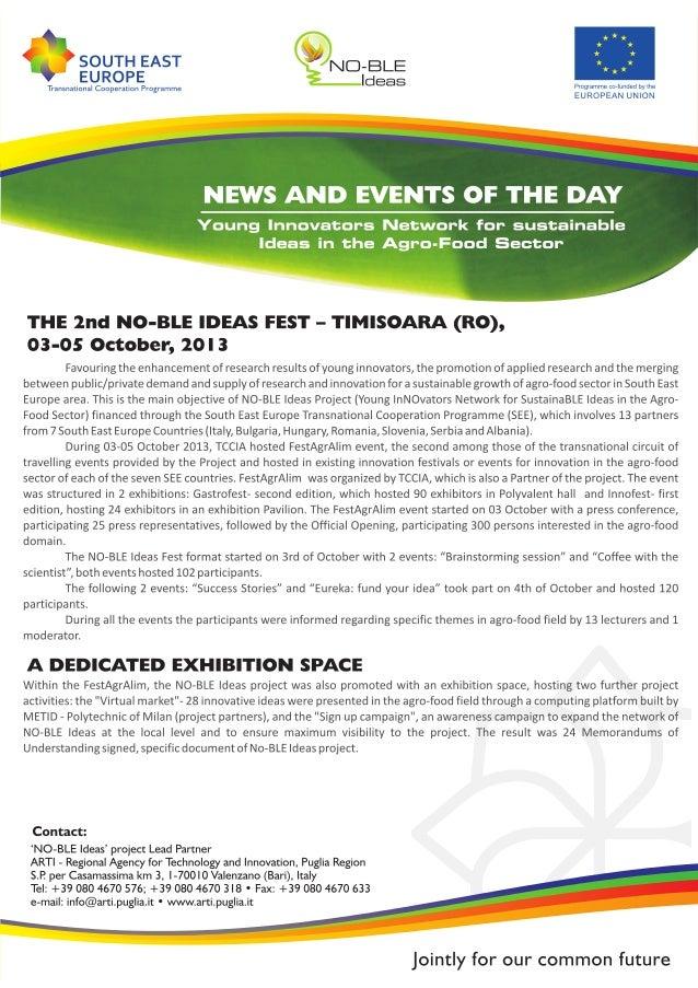NO-BLE Ideas Fest a Timisoara (Romania) 3-5 ottobre 2013