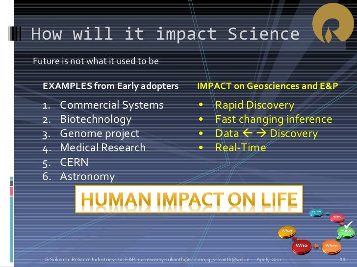 <ul><li>Future is not what it used to be </li></ul>How will it impact Science Apr 8, 2011 G Srikanth. Reliance Industries ...