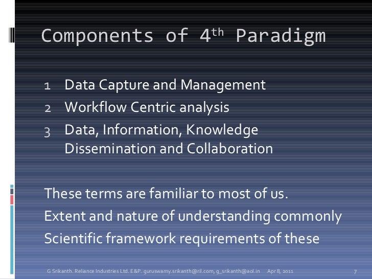 Components of 4 th  Paradigm <ul><li>Data Capture and Management </li></ul><ul><li>Workflow Centric analysis </li></ul><ul...