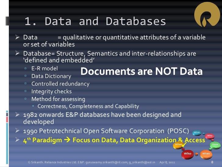 1. Data and Databases <ul><li>Data = qualitative or quantitative attributes of a variable or set of variables </li></ul><u...