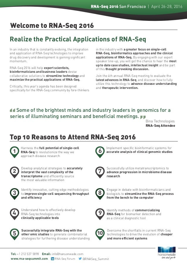 4Th Rna-Seq San Francisco April 26-28 Event Guide