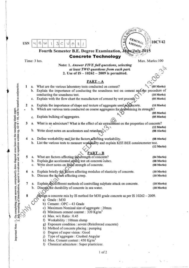 4th semester vtu be cv question papers from 2010 to dec 2015