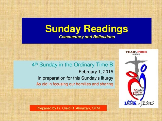 Liturgical Bible Study Guide - 4th Sunday in the Ordinary