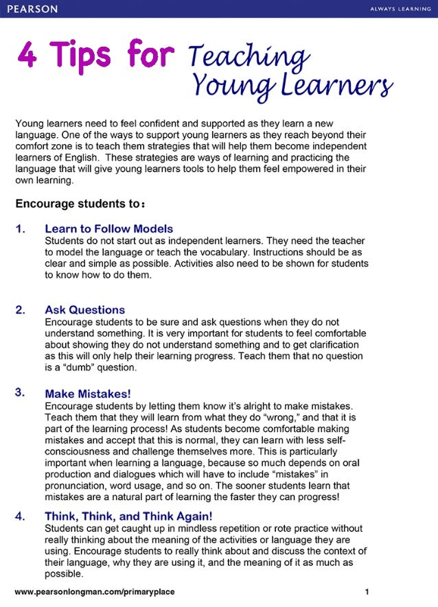 ALWAYS LCARNlNG  4 Tips For Teadwmgy Y0lM/ lg/  Lean/ Lory  Young learners need to feel confident and supported as they lea...
