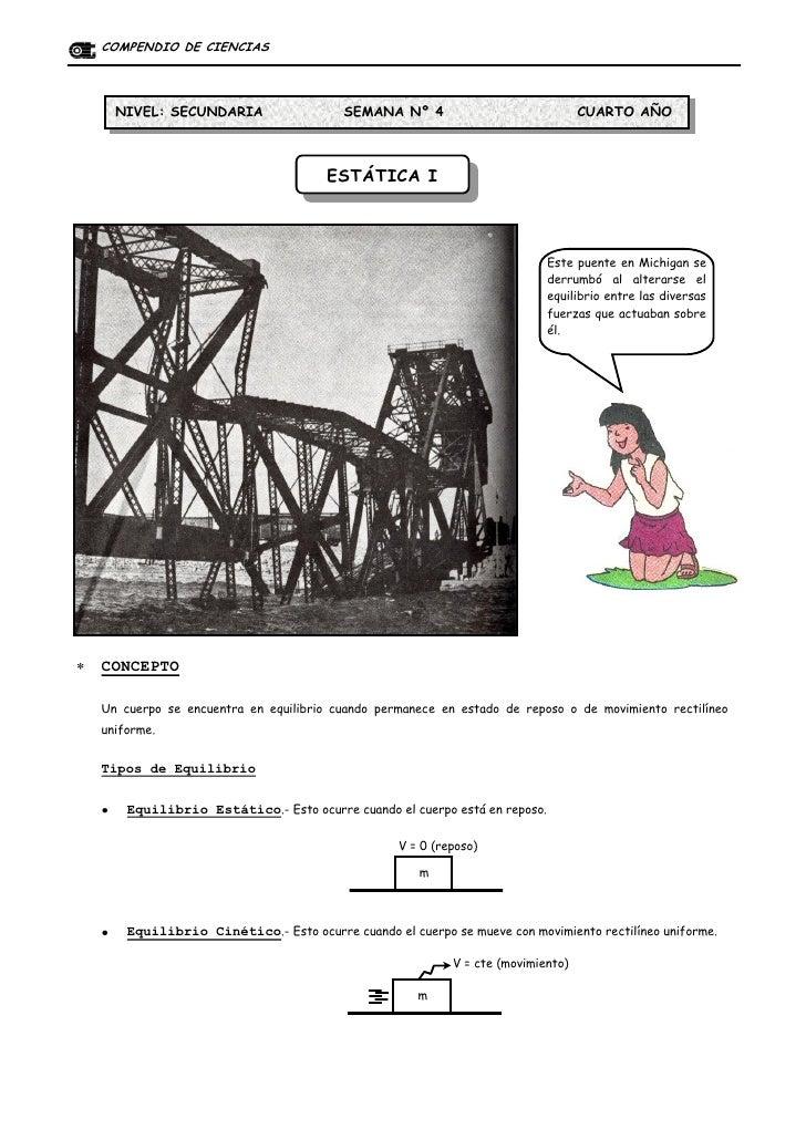 COMPENDIO DE CIENCIAS       NIVEL: SECUNDARIA                   SEMANA Nº 4                              CUARTO AÑO       ...
