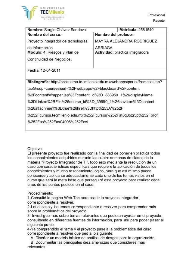 Profesional Reporte Nombre: Sergio Chávez Sandoval Matrícula: 2581540 Nombre del curso: Proyecto integrador de tecnologías...