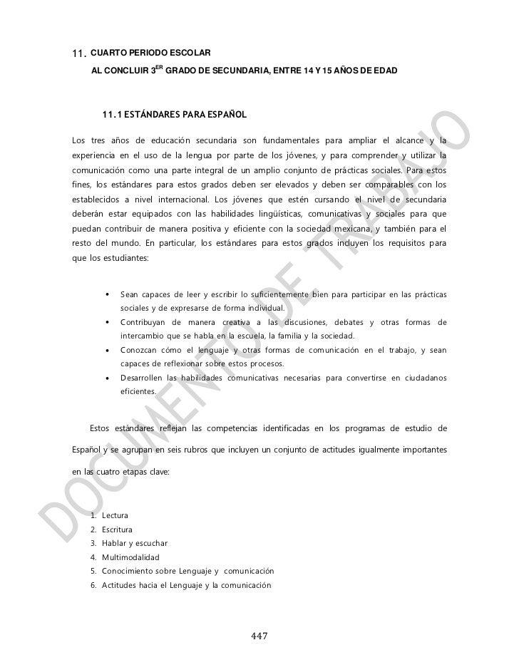 11. CUARTO PERIODO ESCOLAR                       ER     AL CONCLUIR 3          GRADO DE SECUNDARIA, ENTRE 14 Y 15 AÑOS DE ...