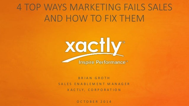 4 TOP WAYS MARKETING FAILS SALES  AND HOW TO FIX THEM  B R I A N G R O T H  S A L E S E N A B L E M E N T M A N A G E R  X...