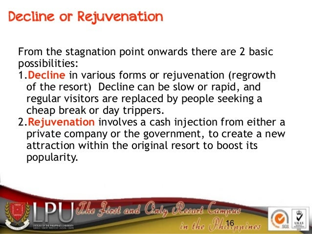 16 From the stagnation point onwards there are 2 basic possibilities: 1.Decline in various forms or rejuvenation (regrowth...