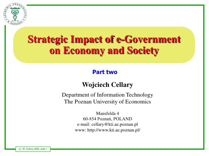 Strategic Impact of e-Government              on Economy and Society                                             Part two ...