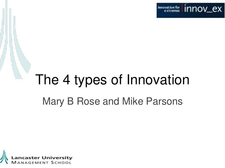 The 4 types of Innovation Mary B Rose and Mike Parsons