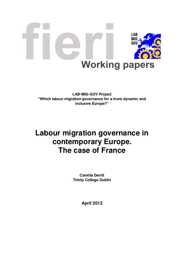 "LAB-MIG-GOV Project ""Which labour migration governance for a more dynamic and inclusive Europe?"" Labour migration governan..."