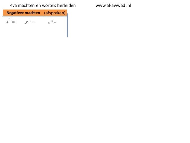 4va machten en wortels herleiden Negatieve machten (afspraken)  x0 = 1  x -1 =  1 x1  x -3 =  1 x3  www.al-awwadi.nl