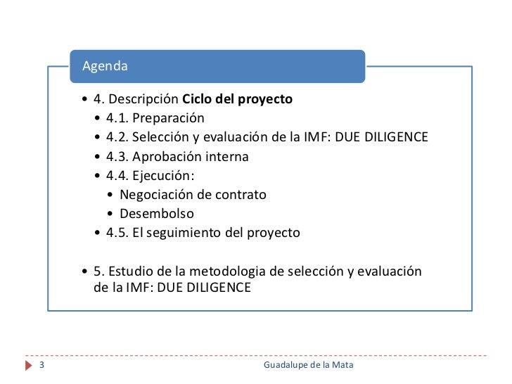 Financiación Internacional para Instituciones de Microfinanzas. Proceso de Due Diligence Slide 3