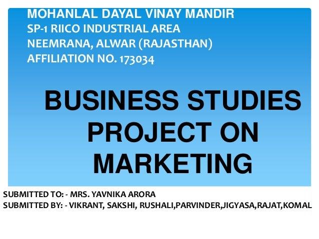 Business marketing management capstone written project