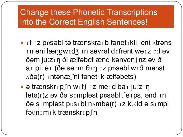 phonetic transcription of words examples pdf
