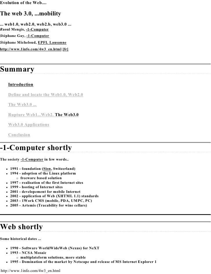EvolutionoftheWeb....  Theweb3.0,...mobility ...web1.0,web2.0,web2.b,web3.0... RaoulMengis,-1-Computer Stépha...