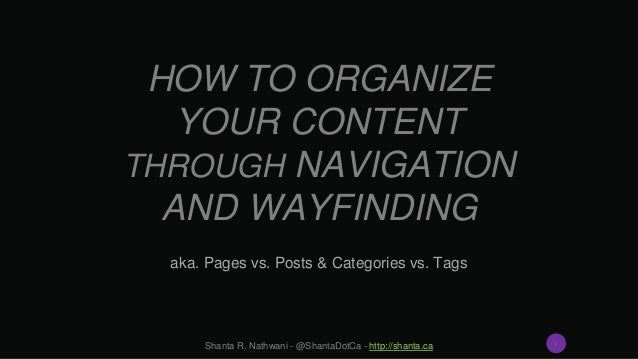 HOW TO ORGANIZE YOUR CONTENT THROUGH NAVIGATION AND WAYFINDING aka. Pages vs. Posts & Categories vs. Tags Shanta R. Nathwa...