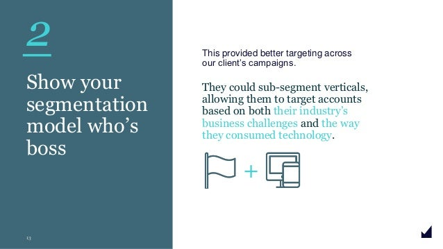 © The Marketing Practice 2020 2 13 Show your segmentation model who's boss This provided better targeting across our clien...