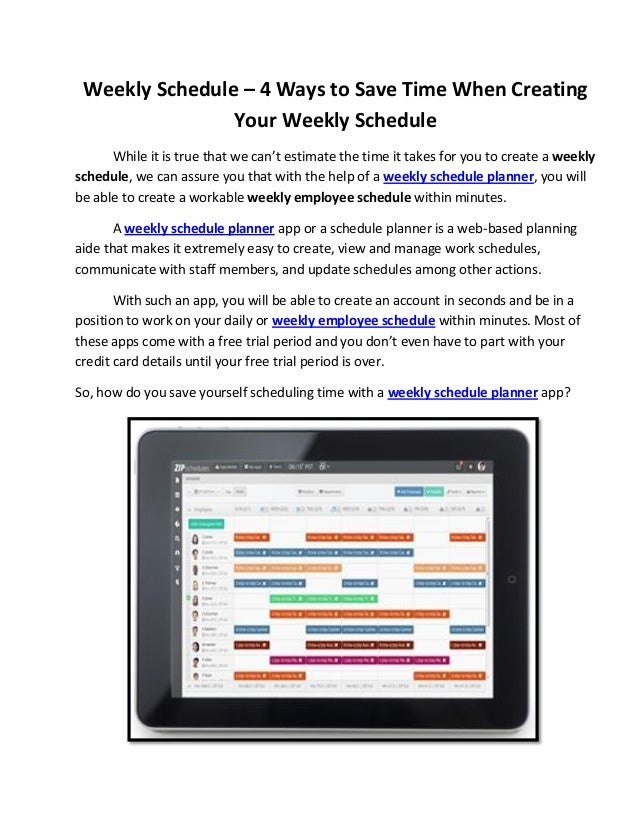 weekly schedule 4 ways to save time when creating your weekly sched
