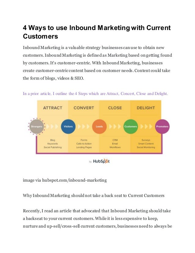 4 Ways to use Inbound Marketing with Current Customers InboundMarketing is a valuable strategy businesses can use to obtai...