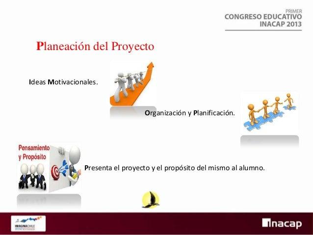 Planeación del Proyecto Ideas Motivacionales.  Organización y Planificación.  Presenta el proyecto y el propósito del mism...