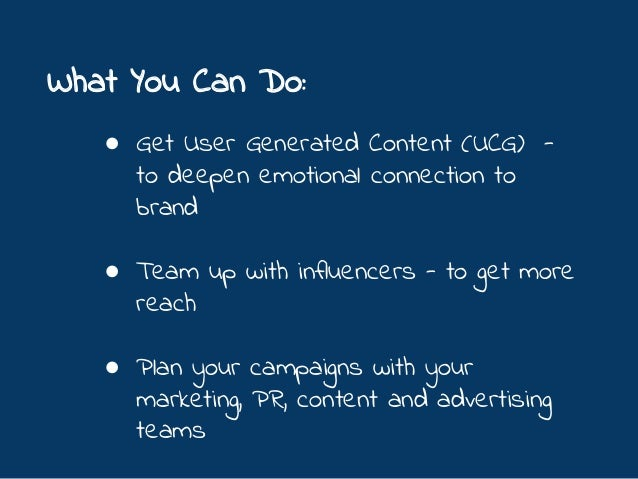 What You Can Do: ● Add gamification with Facebook game apps, or even vote contests ● Give-away instant daily prizes ● Inco...