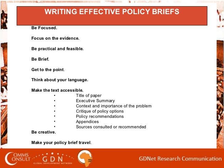 Writing Policy Briefs, AERC Workshop, 2010 Slide 2
