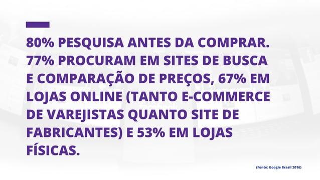 O mobile já é a forma usada por 15% das pessoas para efetuar suas compras e por 22% para pesquisar (Fonte: Google Brasil 2...