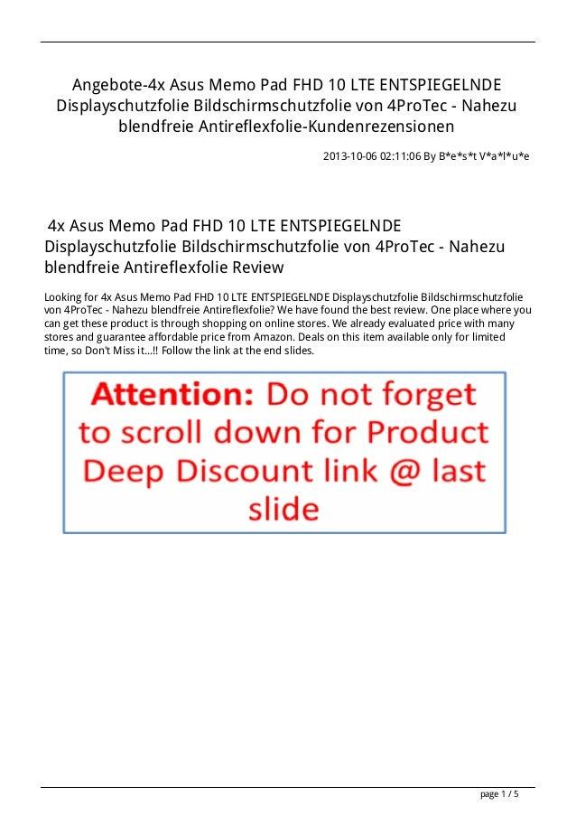 Angebote-4x Asus Memo Pad FHD 10 LTE ENTSPIEGELNDE Displayschutzfolie Bildschirmschutzfolie von 4ProTec - Nahezu blendfrei...