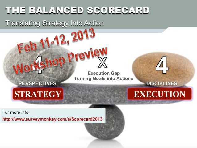 THE BALANCED SCORECARD Translating Strategy Into Action                                    Execution Gap                  ...
