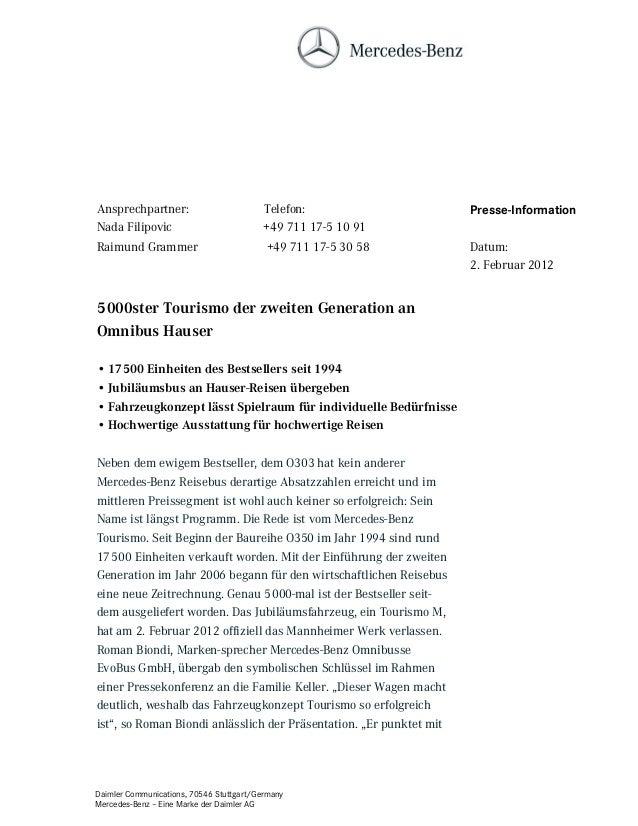 Daimler Communications, 70546 Stuttgart/Germany Mercedes-Benz – Eine Marke der Daimler AG 5000ster Tourismo der zweiten Ge...