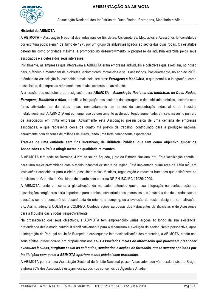 APRESENTAÇÃO DA ABIMOTA                           Associação Nacional das Indústrias de Duas Rodas, Ferragens, Mobiliário ...
