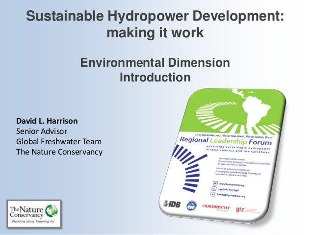 Sustainable Hydropower Development:              making it work                Environmental Dimension                    ...