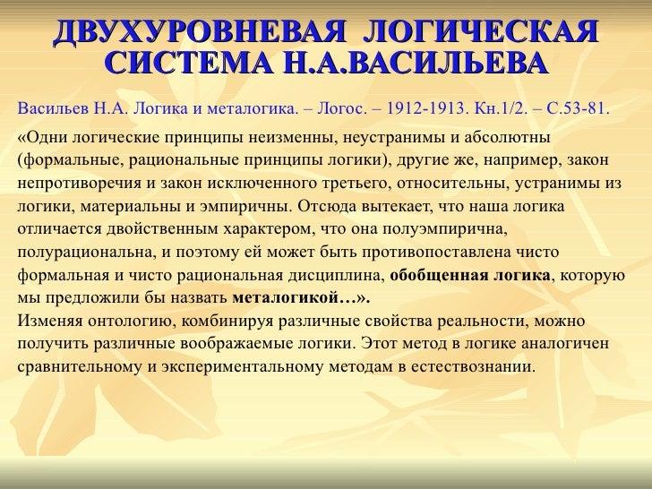 ДВУХУРОВНЕВАЯ  ЛОГИЧЕСКАЯ СИСТЕМА Н.А.ВАСИЛЬЕВА <ul><li>Васильев Н.А. Логика и металогика. – Логос. – 1912-1913. Кн.1/2. –...