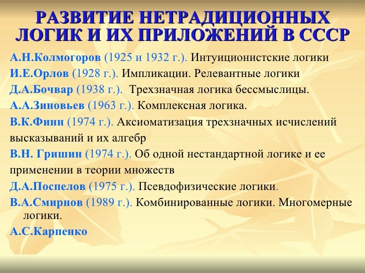 РАЗВИТИЕ НЕТРАДИЦИОННЫХ ЛОГИК И ИХ ПРИЛОЖЕНИЙ В СССР <ul><li>А.Н.Колмогоров  (1925 и 1932 г.).  Интуиционистские логики </...
