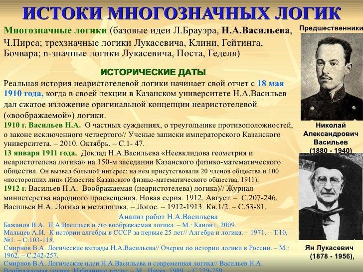 ИСТОКИ МНОГОЗНАЧНЫХ ЛОГИК <ul><li>Многозначные логики  (базовые идеи Л.Брауэра,  Н.А.Васильева ,  </li></ul><ul><li>Ч.Пирс...