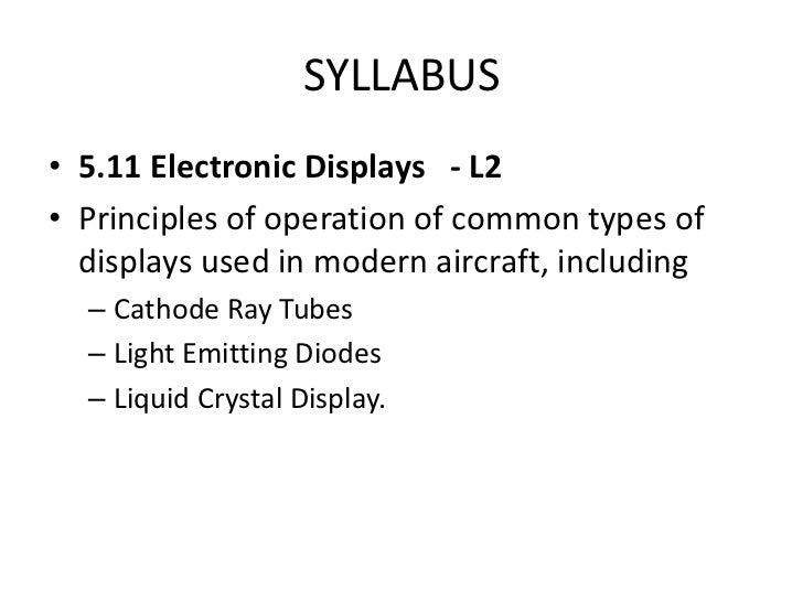 EASA PART-66 MODULE 5.11 : ELECTRONIC DISPLAYS Slide 2