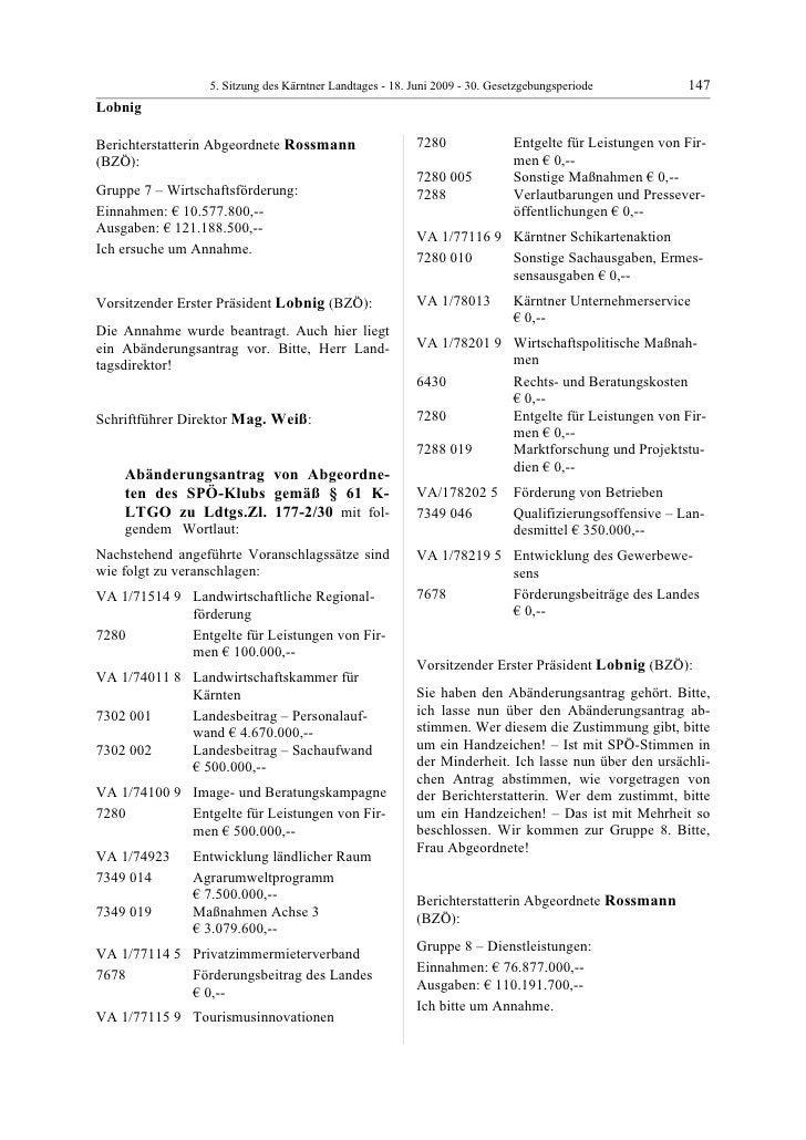 5. LTG-Sitzung am 18. Juni 2009
