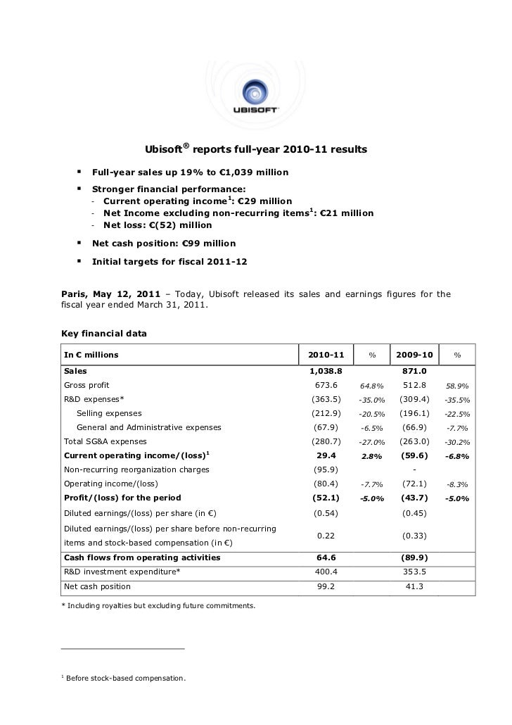 ®                          Ubisoft      reports full-year 2010-11 results           Full-year sales up 19% to €1,039 mill...