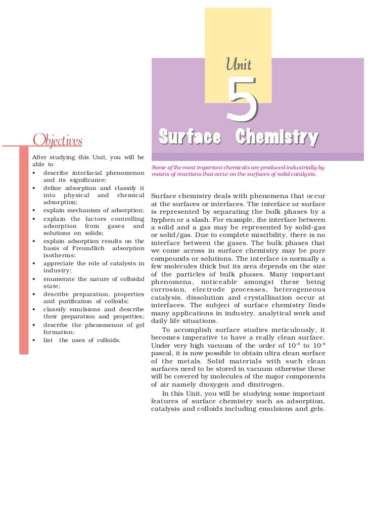 UnitObjectives                                Sur face Chemistr y                                          Surface Chemist...