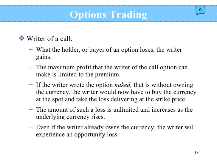 Trade options or futures