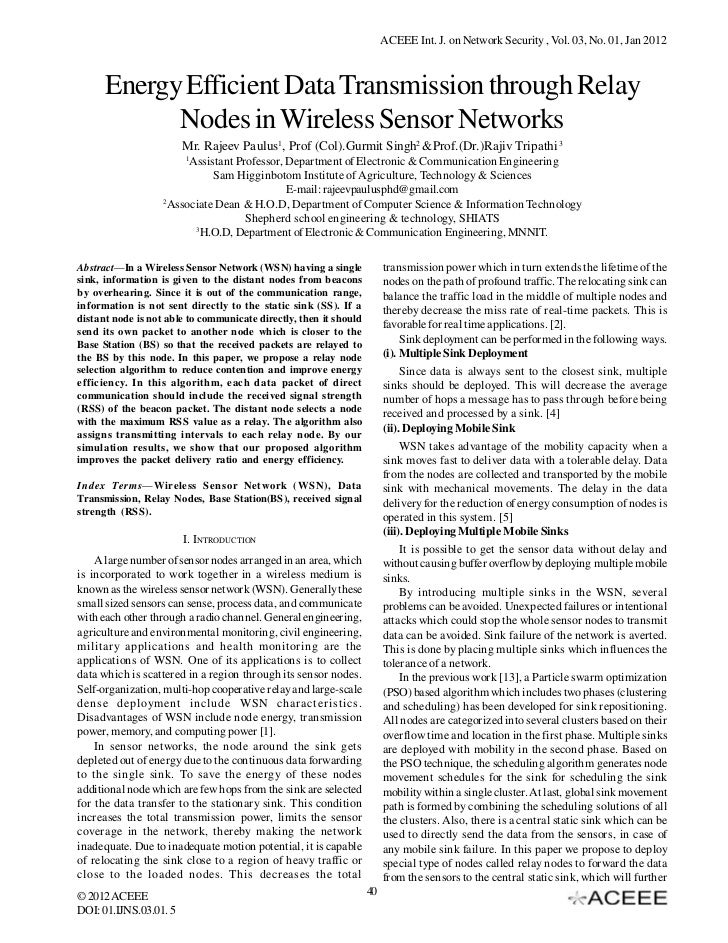 ACEEE Int. J. on Network Security , Vol. 03, No. 01, Jan 2012      Energy Efficient Data Transmission through Relay       ...