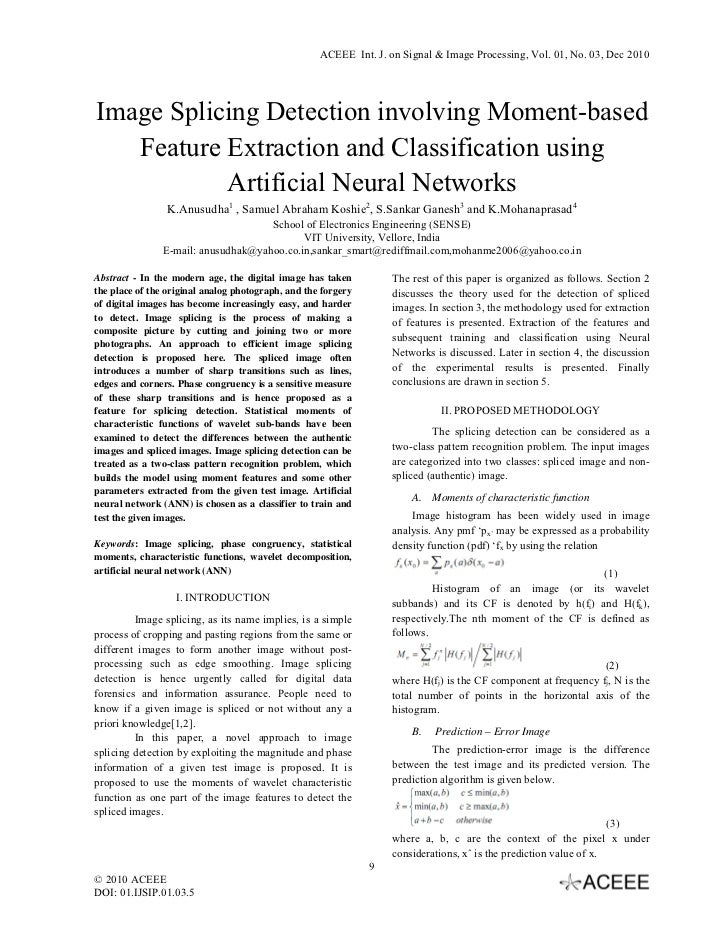 ACEEE Int. J. on Signal & Image Processing, Vol. 01, No. 03, Dec 2010Image Splicing Detection involving Moment-based   Fe...