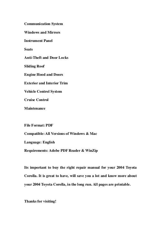 2004 toyota corolla service repair workshop manual download