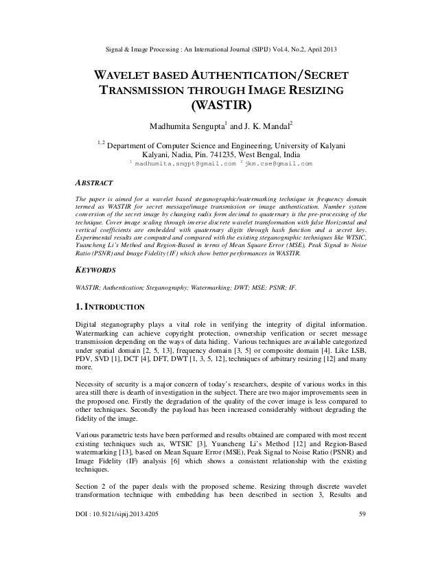 Signal & Image Processing : An International Journal (SIPIJ) Vol.4, No.2, April 2013DOI : 10.5121/sipij.2013.4205 59WAVELE...