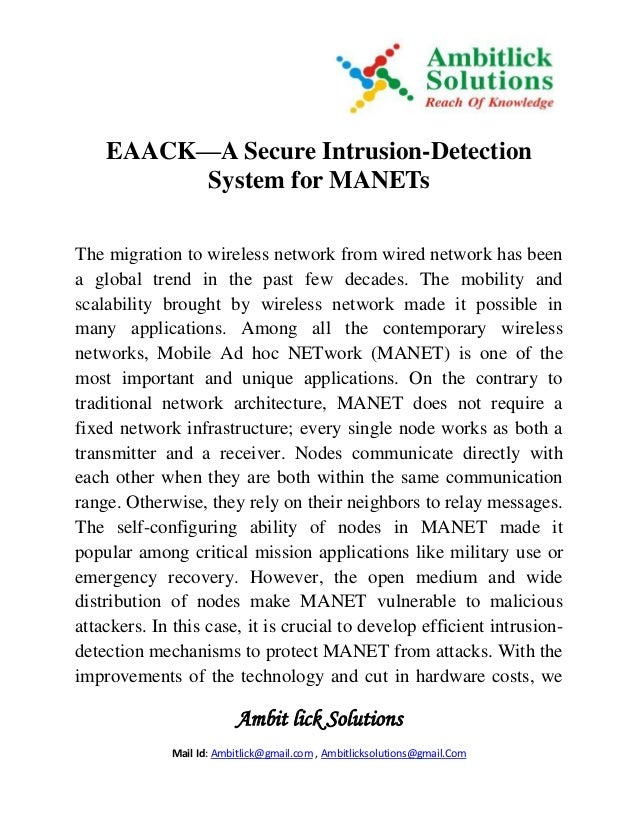 Ambit lick Solutions Mail Id: Ambitlick@gmail.com , Ambitlicksolutions@gmail.Com EAACK—A Secure Intrusion-Detection System...