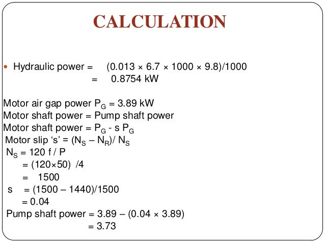 Hydraulic Pump: Hydraulic Pump Power Calculation